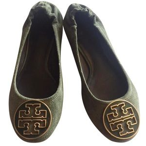 Tory Burch Olive Green Suede Reva Flats 8.5